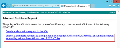 Submit a certificate request