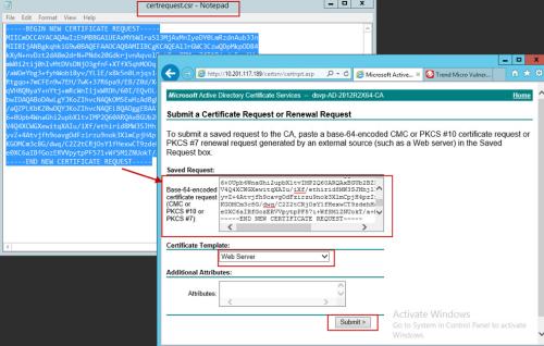 Open certrequest.csr file