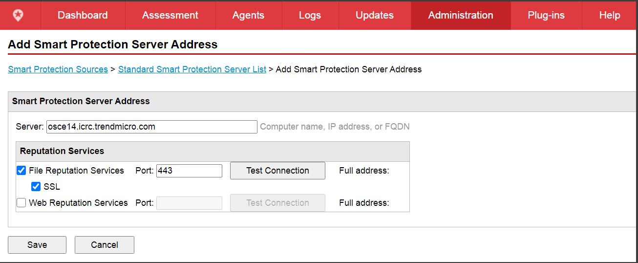 Add Smart Protection Server Address