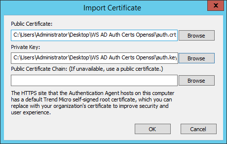 Replace TMWS Authentication Agent Certificate