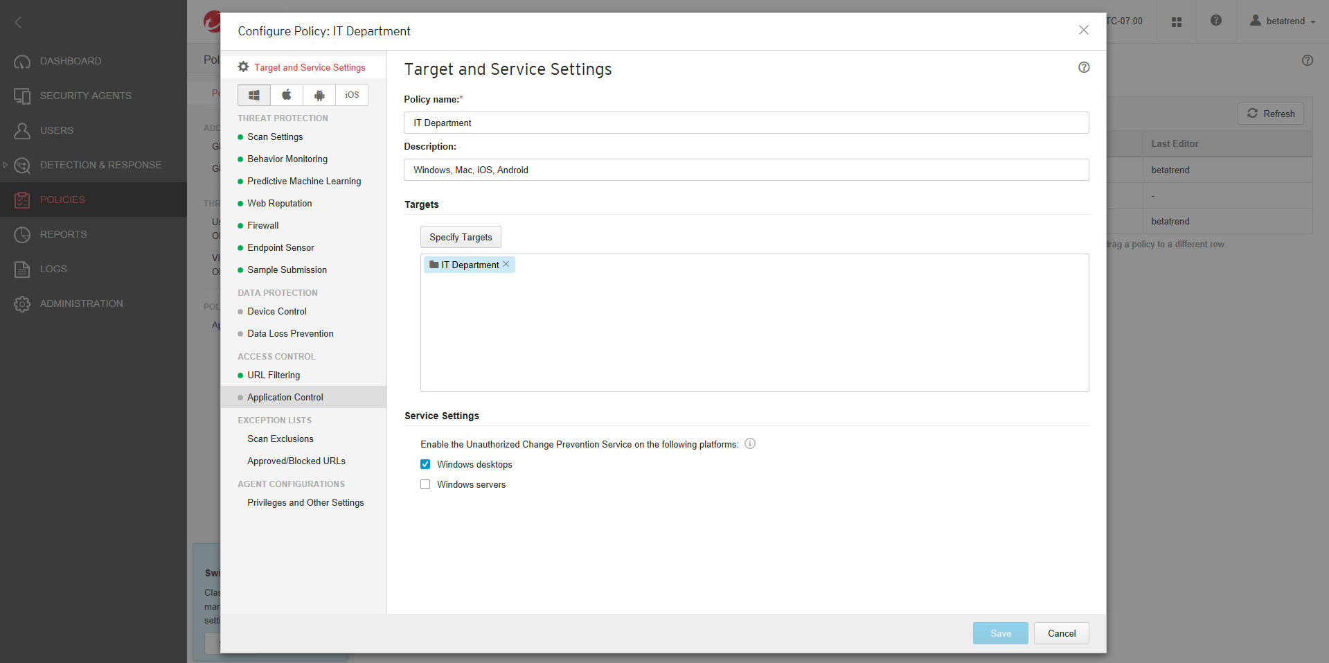 Configure Policy screen
