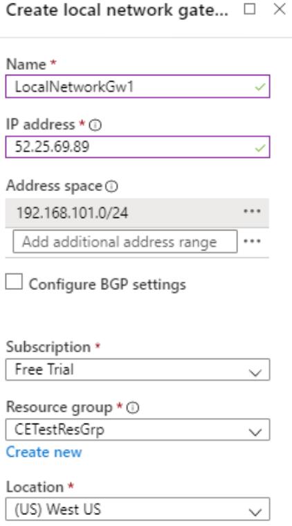 Enter settings for virtual network gateway