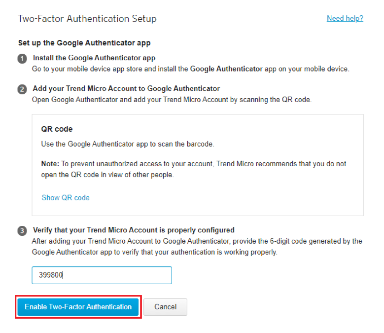 click Enable Two-Factor Authentication