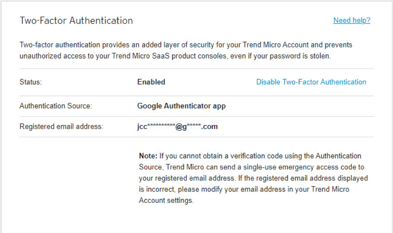 Click Enable Two-Factor Auth