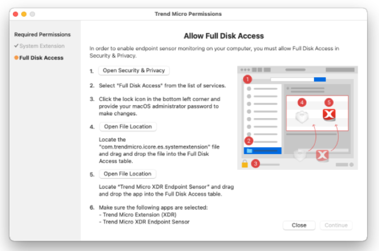 follow steps to allow Full Disk Access