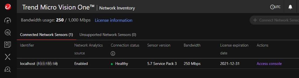 DDI is registered as Network Sensor