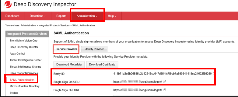 copy Entity ID and Single sign on URL