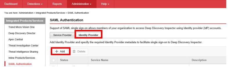 go to Identity provider
