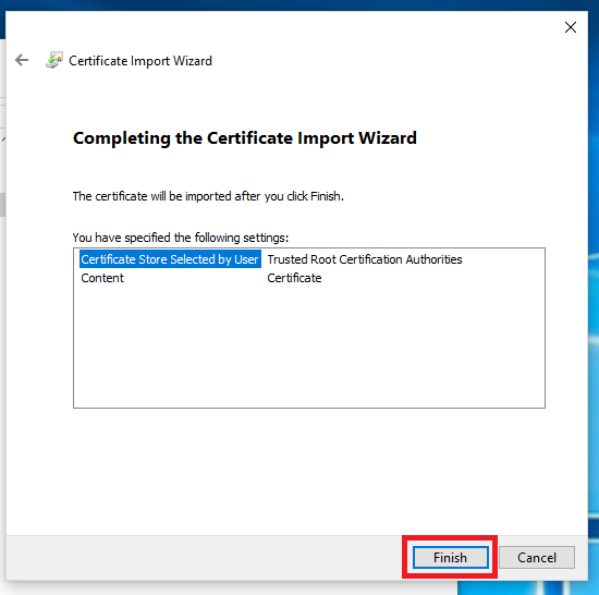 Import Certificate Summary]