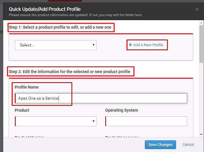 Add Product Profile