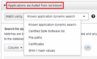 Applications excluded from lockdown