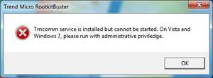 Rootkit Buster error