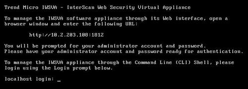 initial CLI login screen
