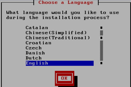 select language for installation process