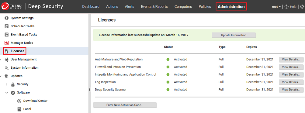 View Deep Security licenses
