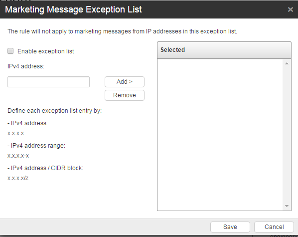 Marketing Message Exception List