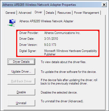 Atheros AR9285 Wireless Network Adapter