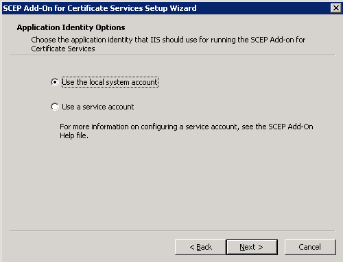 Application Identity Options