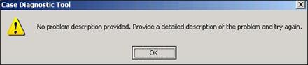 Case Diagnostic Tool error message