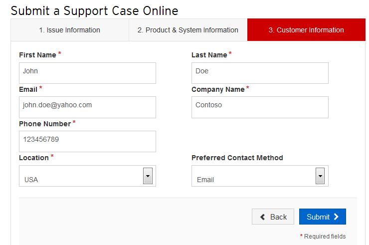 Customer Information tab