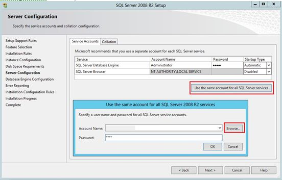 Accounts used for SQL Server services