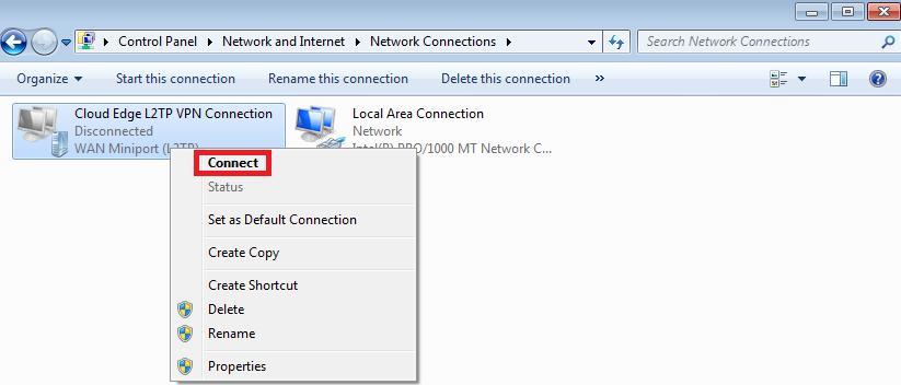 L2TP Connection status