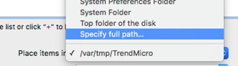 Specify full path…