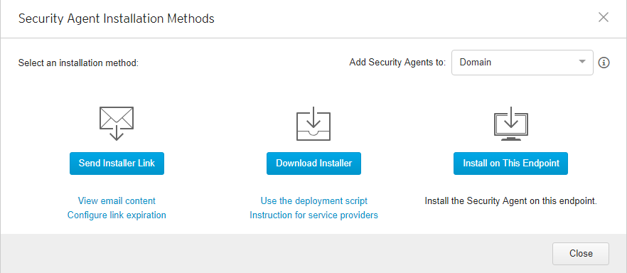 Security Agent Installation Methods
