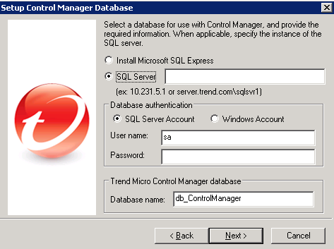 Setup Control Manager Database