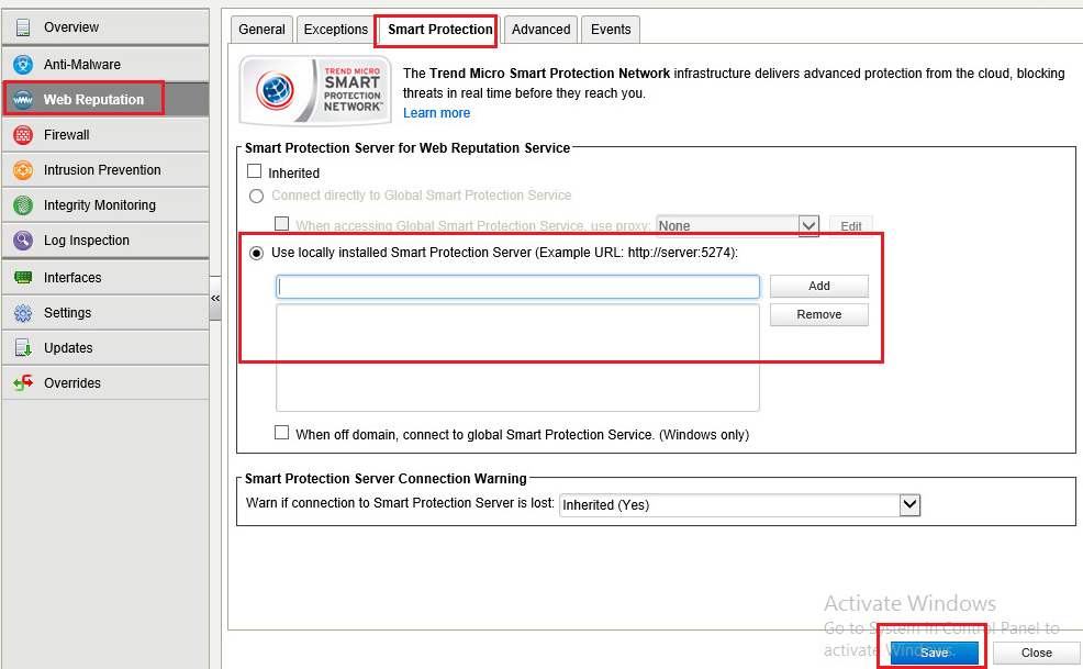 Use Locally installed Smart Protection Server