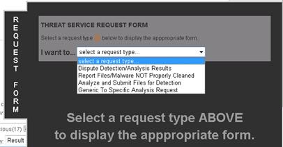 Select a request type