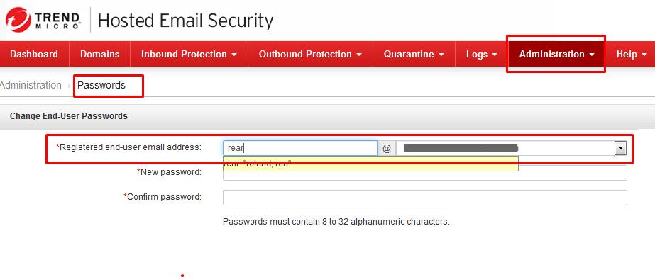 Registered end-user email address