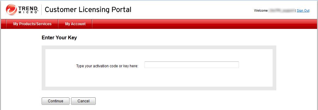 Enter your Registration or Activation Key.