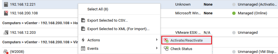 Activate computer or VM