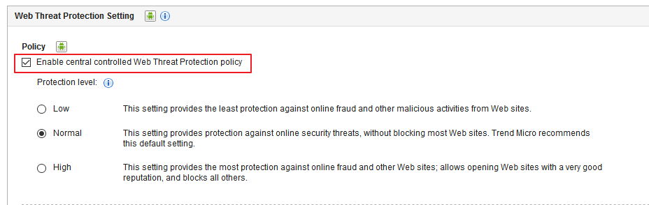 Web Threat Protection policy