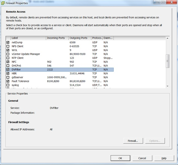 Port 2222 is predefined for DVFilter driver