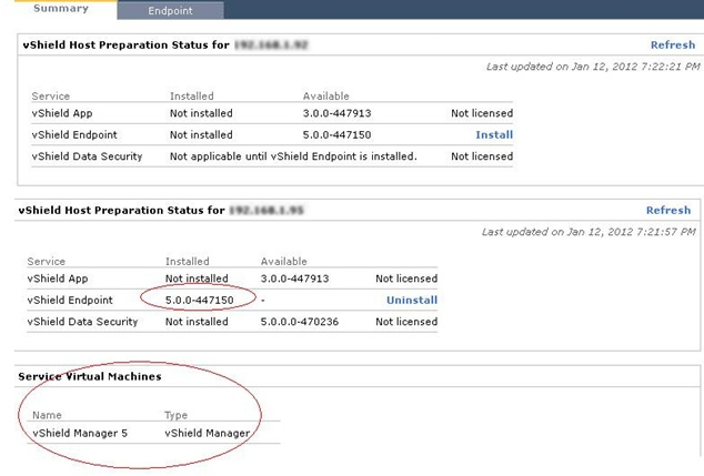 vShield manager console shows vShield Endpoint installed on ESX host