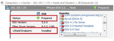 "ESX status ""Prepared"", vShield Endpoint ""Installed"""