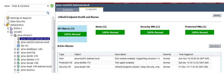 vShield manager shows DSVA registered on ESX host
