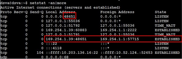 Command to check 48651 port of the Antimalware process