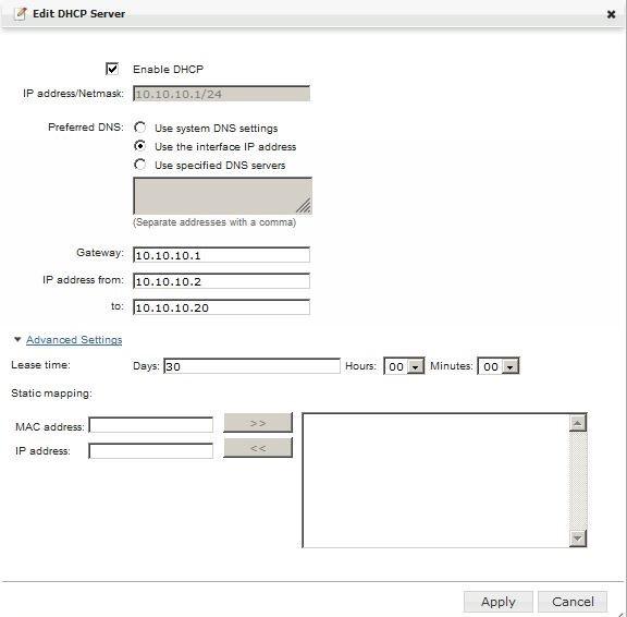 Edit DHCP Server