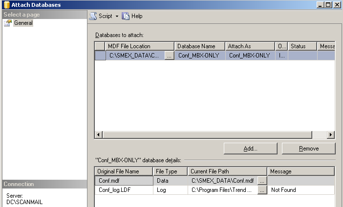 Database Name and Attach As fields