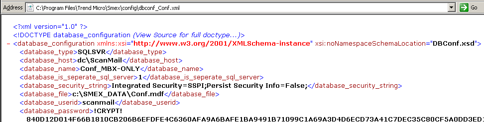 dbconf_Conf.xml variables