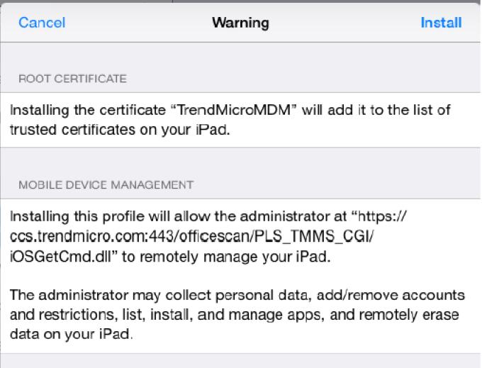 MDM Installation Warning
