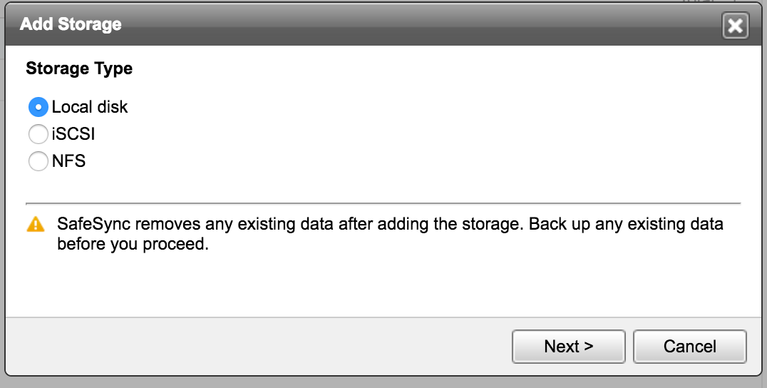 Choose local disk as storage type