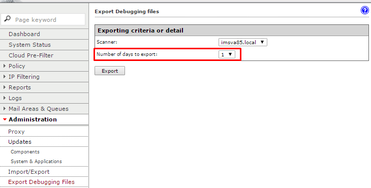 Choose Number of days to export