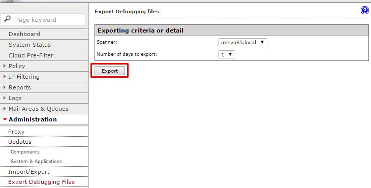 Click export