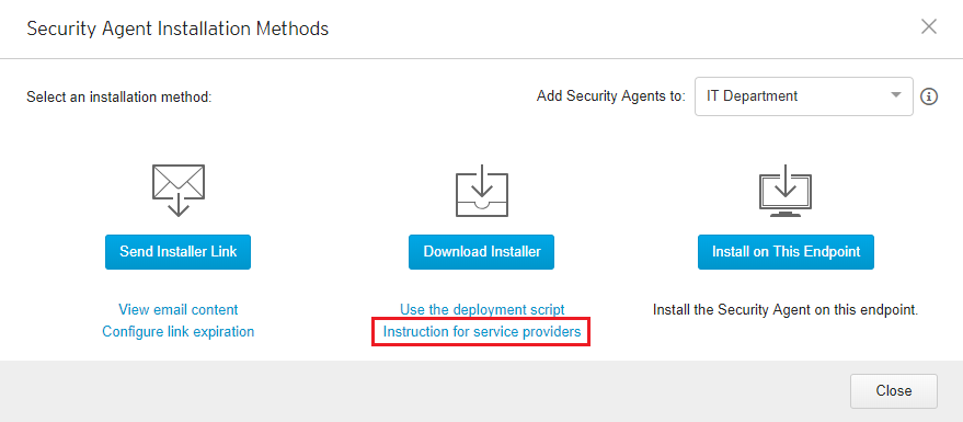 Instructions for service providers