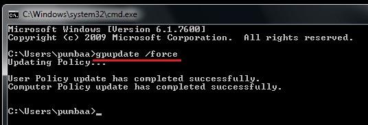 Run the GPupdate command