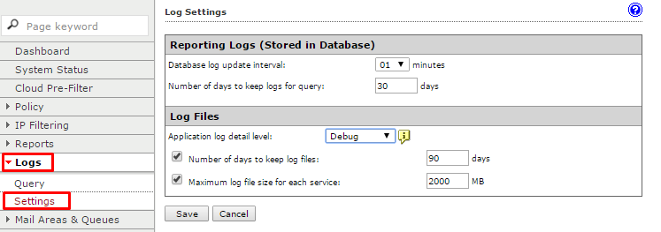 Go to Logs > Settings